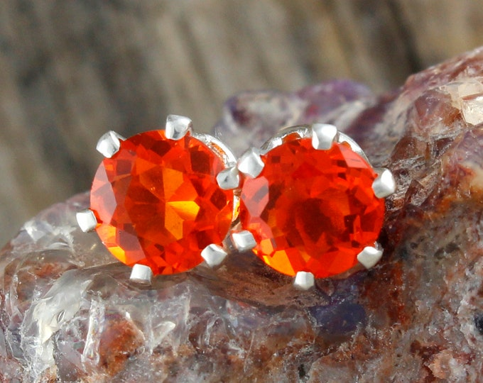 Mexican Fire Opal Earrings - Sterling Silver Post Earrings - Mexican Fire Opal Studs - Stud Earrings