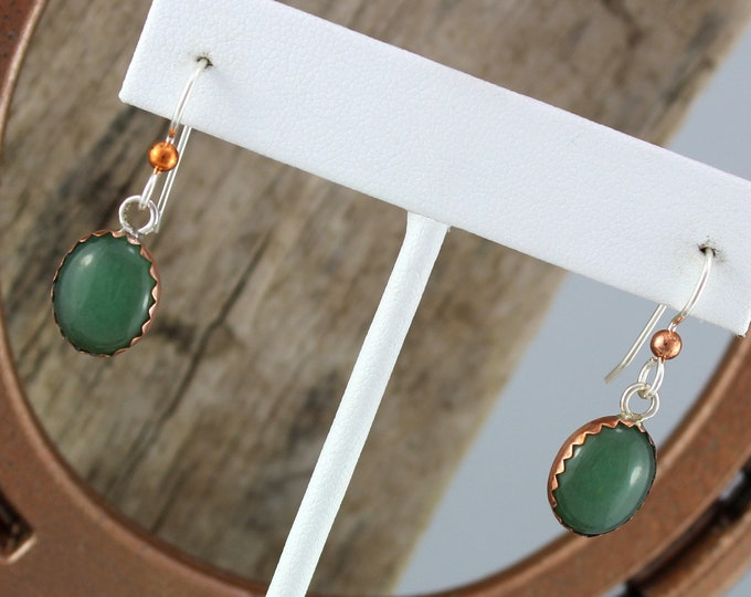 Silver & Copper Earrings - Aventurine Earrings - Dangle Earrings - Statement Earrings - Boho Earrings- Drop Earrings -Green Stone Earrings
