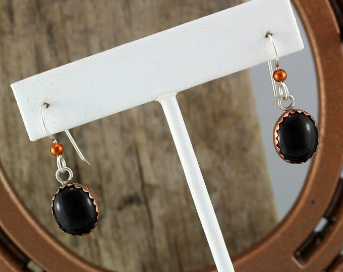 Silver & Copper Earrings - Black Onyx Earrings - Dangle Earrings - Drop Earrings - Statement Earrings- Boho Earrings - Black Stone Earrings