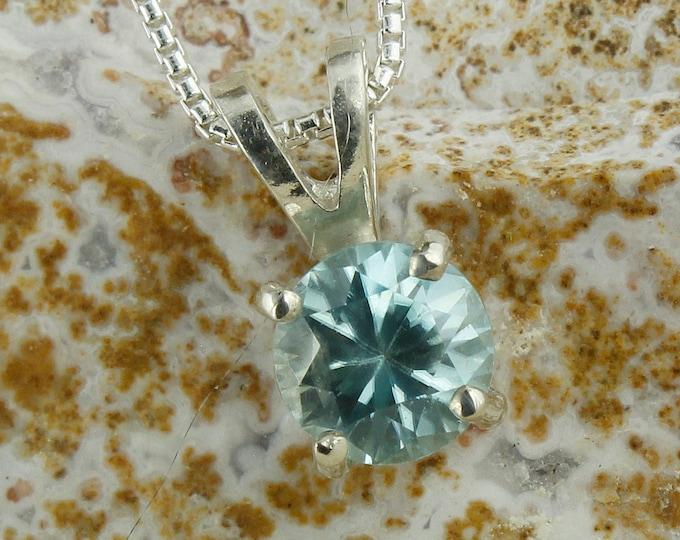 Natural Blue Zircon Pendant - Sterling Silver Pendant Necklace - Natural Blue Zircon Necklace