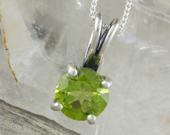 Natural Peridot Pendant - Sterling Silver Pendant Necklace - Green Peridot Pendant