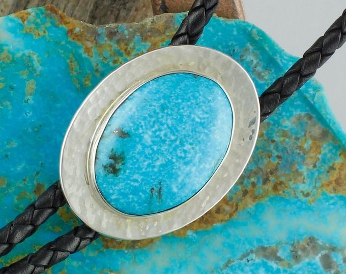 Kingman Turquoise Bolo Tie -Western Bolo Tie -Sterling Silver Bolo Tie - Cowboy Bolo Tie