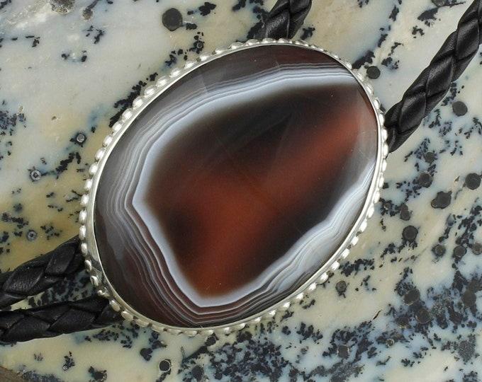 Natural Botswana Agate Bolo Tie -Cowboy Bolo  Tie -Sterling Silver Bolo Tie - Western Bolo Tie Necklace