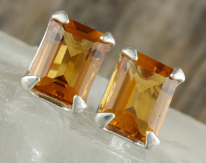 Madeira Citrine  Earrings - Sterling Silver Earrings - Madeira Citrine Studs - Statement Earrings