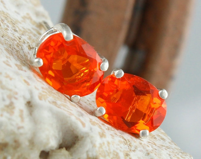 Natural Mexican Fire Opal Earrings -Sterling Silver Posts Earrings - Mexican Fire Opal Studs - Stud Earrings