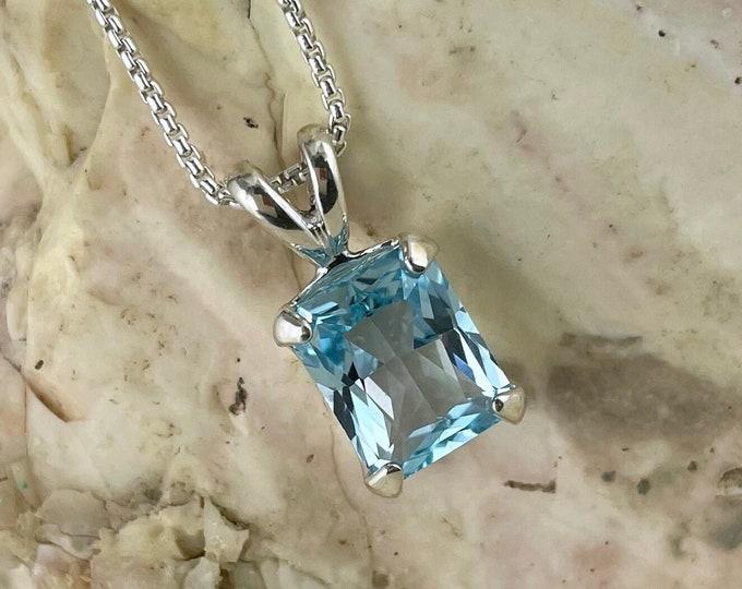 Natural Aquamarine Pendant - Sterling Silver Aquamarine Pendant - Blue Aquamarine Necklace