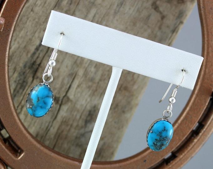 Silver Earrings -Blue Turquoise -Drop Earrings -Statement Earrings-Boho Earrings-Blue Stone Earrings-Dangle Earrings-Turquoise Earrings