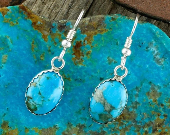 Silver Earrings - Kingman Turquoise Earrings - Dangle Earrings -  Turquoise Drops