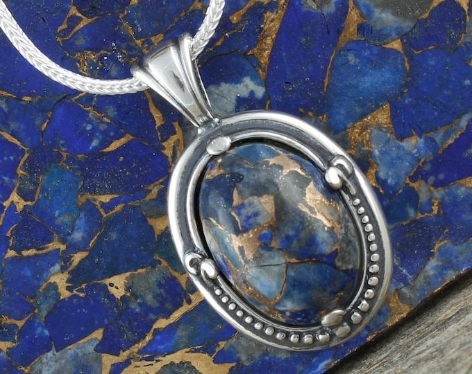 Lapis Lazuli Pendant-Lapis Lazuli Necklace-Sterling Silver Pendant Necklace - Statement Pendant