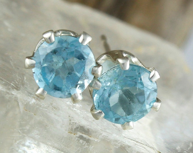 Natural Aquamarine Earrings -Silver Post Earrings -Blue Aquamarine Studs -Stud Earrings