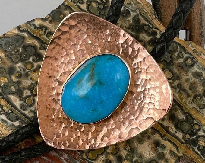 Kingman Turquoise Bolo Tie - Western Bolo Tie - Cowboy Bolo Tie - Copper Bolo Tie
