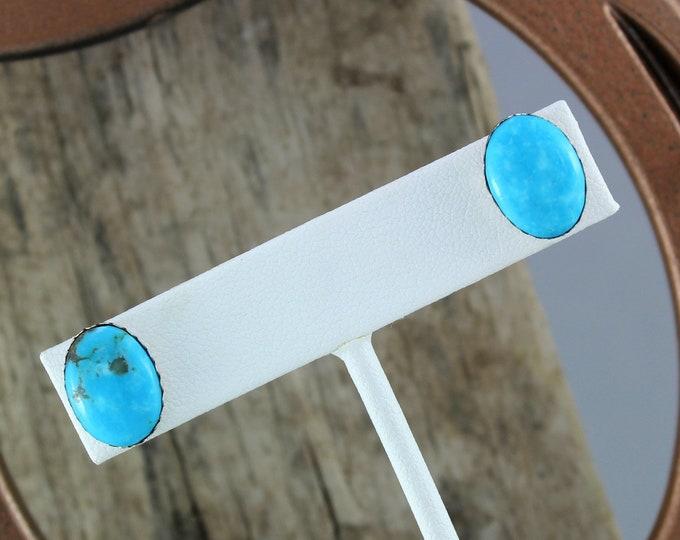 Silver Earrings - Blue Turquoise Earrings - Statement Earrings -  Wedding Earrings - Handmade Earrings - Post Earrings - 14mm x 10mm