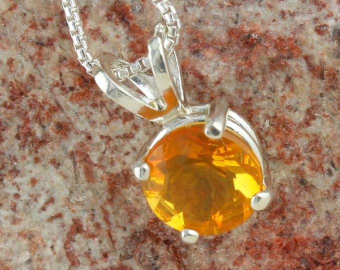 Natural Brazilian Fire Opal Pendant - Sterling Silver Pendant Necklace - Brazilian Fire Opal Necklace