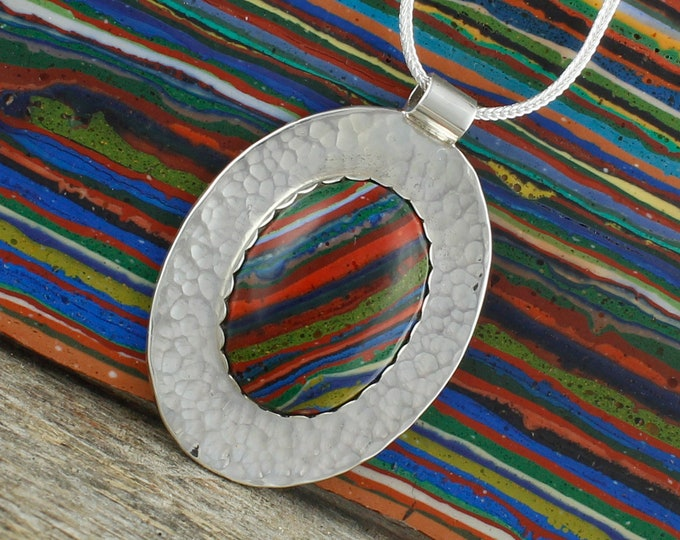 Rainbow Calsilica Pendant - Sterling Silver Pendant -  Rainbow Calsilica Pendant Necklace