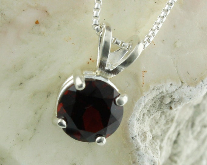 Natural Red Garnet Pendant - Sterling Silver Pendant Necklace - Natural Red Garnet Necklace