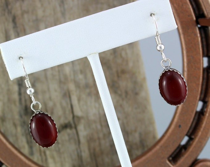 Silver Earrings -Carnelian Earrings -Drop Earrings - Boho Earrings -Dangle Earrings-Statement Earrings-Red Stone Earrings-Stone Earrings