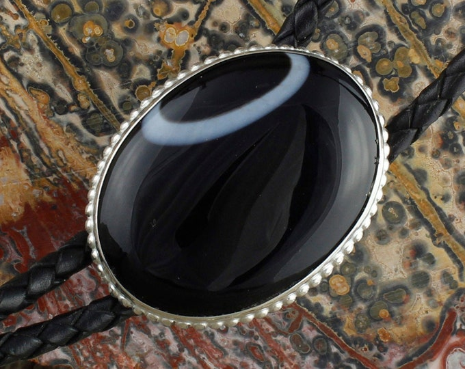 Natural Black Onyx Bolo Tie - Western Bolo Tie - Cowboy Bolo Tie - Sterling Silver Bolo Tie Necklace
