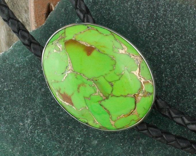 Mohave Green Turquoise Bolo Tie -Western Bolo Tie -Cowboy Bolo Tie Necklace - Sterling Silver Bolo Tie