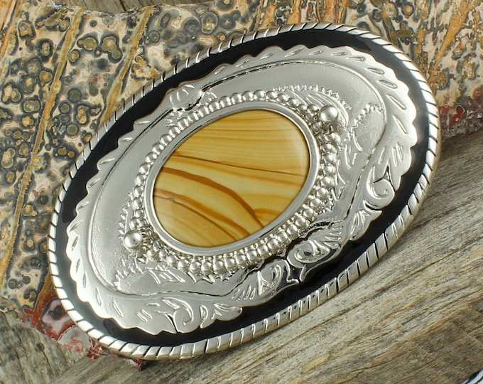 Natural Picture Jasper Belt Buckle - Western Belt Buckle - Cowboy Belt Buckle - Boho Belt Buckle