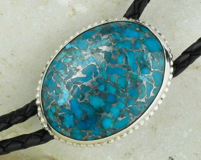 Mohave Blue Turquoise Bolo Tie -Western Bolo Tie -Cowboy Bolo Tie Necklace - Sterling Silver Bolo Tie