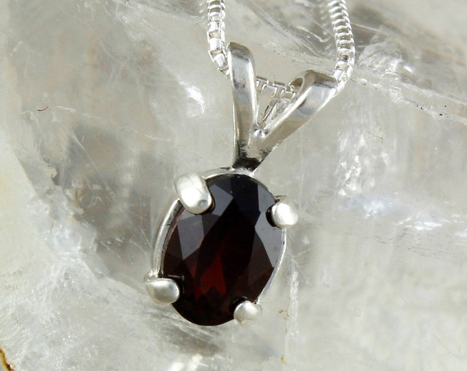 Natural Red Garnet Pendant  - Deep Red Garnet Necklace - Pendant Necklace - Silver Pendant with a 7mm x 5mm Natural Red Garnet Stone
