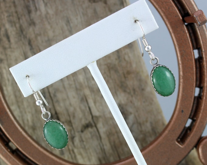 Silver Earrings -Stone Earrings -Drop Earrings -Dangle Earrings - Boho Earrings -Green Stone Earrings-Aventurine Earrings-Statement Earrings