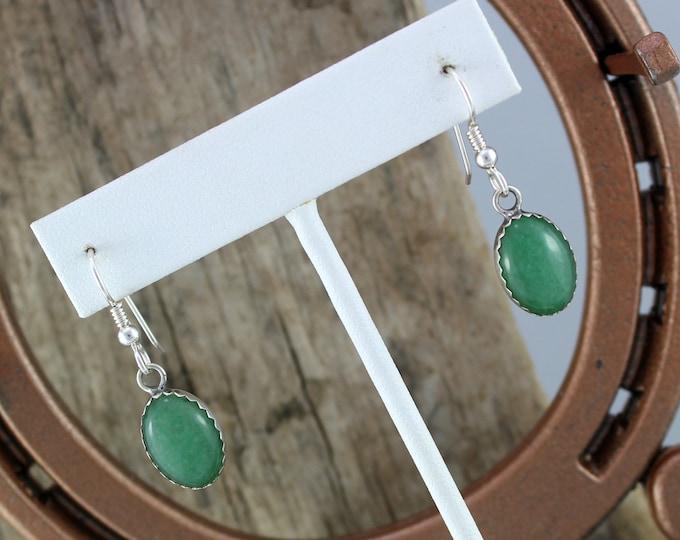 Silver Earrings -Stone Earrings -Drop Earrings -Dangle Earrings - Boho Earrings -Green Stone Earrings-Aventurine Earrings-Statement Earrings