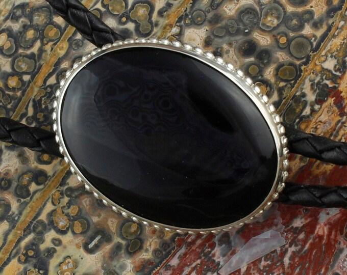 Natural Black & White Onyx Bolo Tie -Western Bolo Tie -Cowboy Bolo Tie - Sterling Silver Bolo Tie Necklace