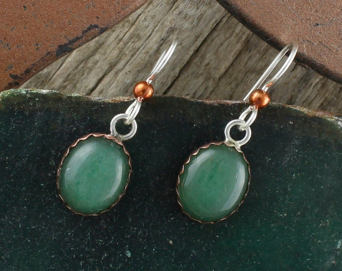 Natural Aventurine Earrings - Sterling Silver & Copper Earrings - Aventurine Dangles - Dangle Earrings