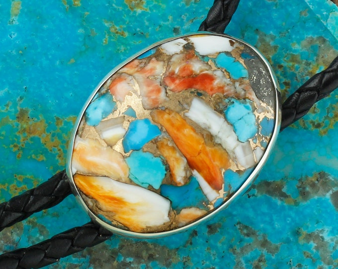 Spiny Oyster & Turquoise Bolo Tie - Western Bolo Tie - Cowboy Bolo Tie Necklace - Sterling Silver Bolo Tie