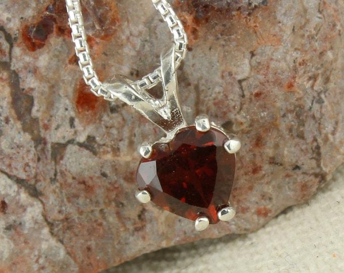 Natural Red Garnet Pendant - Sterling Silver Red Garnet Pendant - Red Garnet Necklace