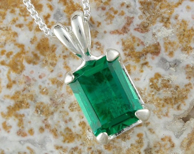 Green Topaz Pendant -Sterling Silver Pendant Necklace -Green Topaz Necklace