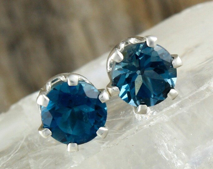 Blue Topaz Earrings -Silver Post Earrings -Blue Topaz Studs-Silver Stud Earrings - Statement Earrings