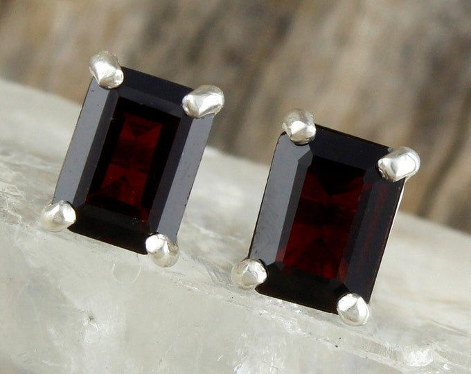 Natural Red Garnet Earrings - Sterling Silver Post Earrings - Deep Red Garnet Stud Earrings