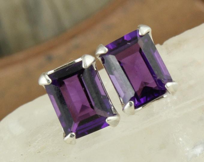 Natural Amethyst Earrings - Silver Post Earrings - Purple Amethyst Studs - Stud Earrings