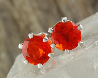 7edb160d8 Natural Mexican Fire Opal Earrings - Sterling Silver Earrings - Mexican Fire  Opal Studs - Stud Earrings