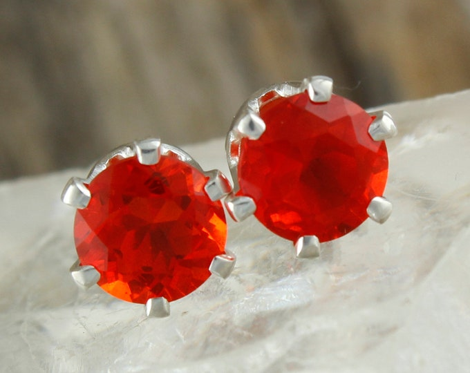 Natural Mexican Fire Opal Earrings - Sterling Silver Earrings - Mexican Fire Opal Studs - Stud Earrings