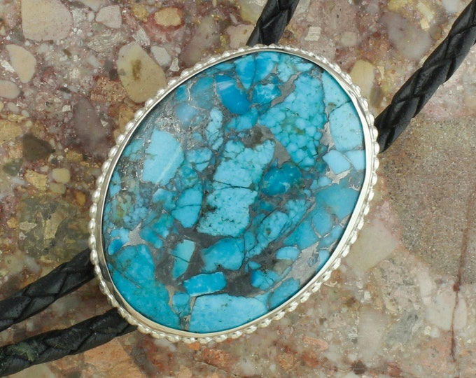 Mohave Blue Turquoise Bolo Tie - Western Bolo Tie -Cowboy Bolo Tie Necklace - Sterling Silver Bolo Tie