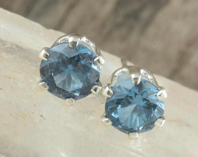 Natural London Blue Topaz Earrings - Sterling Silver Earrings - London Blue Topaz Studs - Stud Earrings