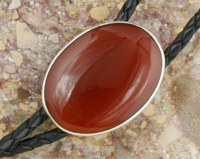 Natural Red Carnelian Bolo Tie - Western Bolo Tie - Cowboy Bolo Tie Necklace - Sterling Silver Bolo Tie