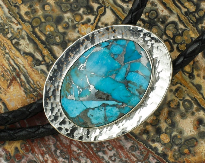 Mohave Blue Turquoise Bolo Tie - Sterling Silver Western Bolo Tie - Cowboy Bolo Tie Necklace