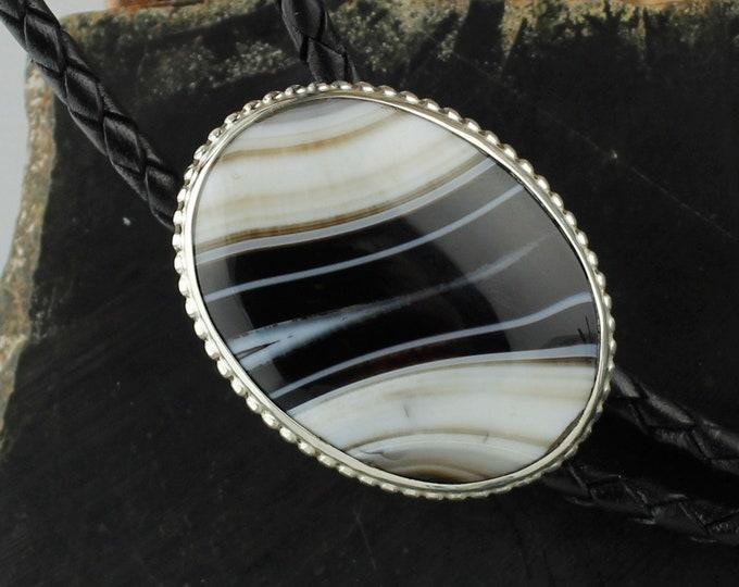 Black & White Onyx Bolo Tie -Sterling Silver Bolo Tie -Cowboy Bolo Tie - Western Bolo Tie Necklace