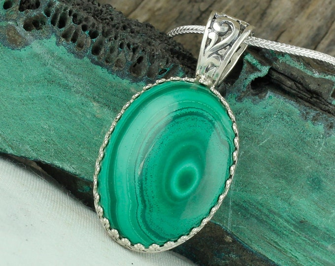 Natural Green Malachite Pendant - Sterling Silver Pendant Necklace - Natural Green Malachite Necklace