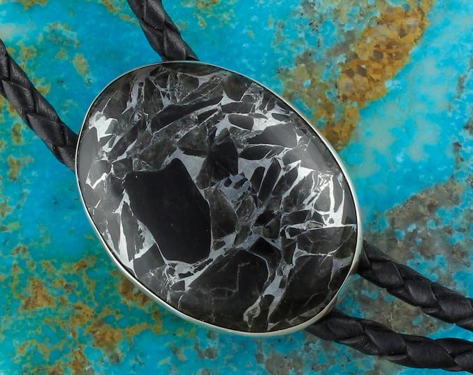 Obsidian and Zinc Bolo Tie - Western Bolo Tie - Cowboy Bolo Tie - Sterling Silver Bolo Tie