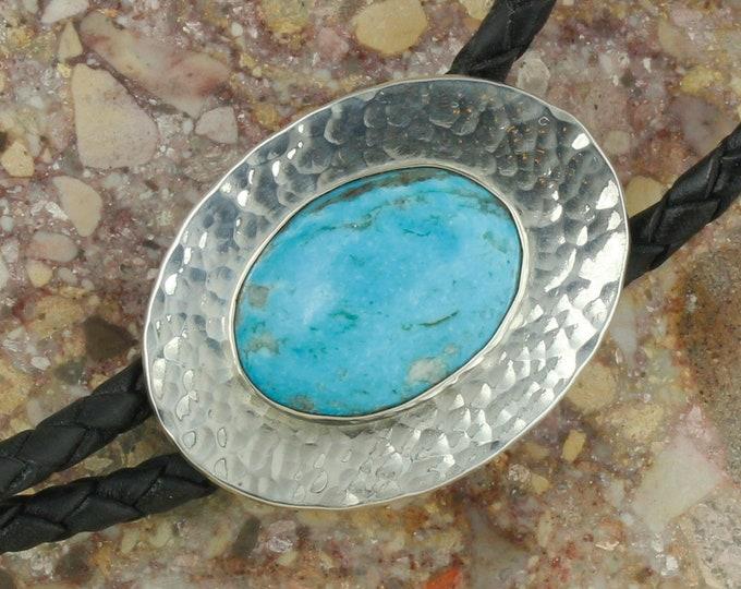 Blue Kingman Turquoise Bolo Tie -Western Bolo Tie -Cowboy Bolo Tie Necklace - Sterling Silver Bolo Tie