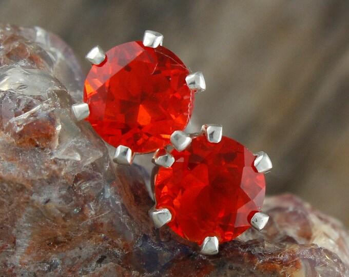 Mexican Fire Opal Earrings - Sterling Silver Post Earrings - Mexican Fire Opal Studs - Stud Earrings