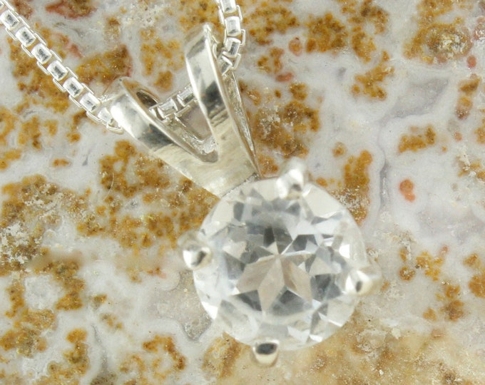 Natural White Topaz Pendant - Sterling Silver Pendant Necklace - Natural White Topaz Necklace