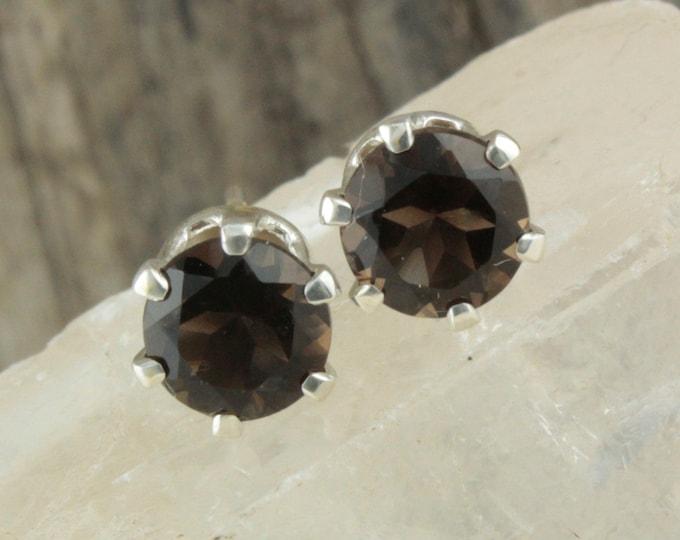 Natural Smokey Quartz Earrings - Sterling Silver Earrings - Smokey Quartz Studs - Stud Earrings