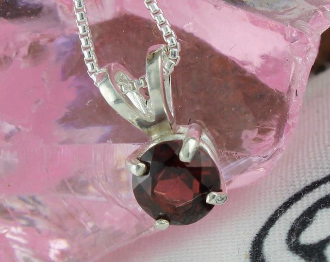 Natural Red Garnet Pendant - Sterling Silver Pendant Necklace -Red Garnet Necklace
