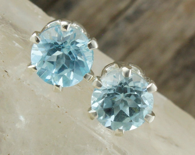 Natural Aquamarine Earrings - Sterling Silver Earrings - Blue Aquamarine Studs - Stud Earrings